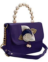 TAP FASHION Fancy Stylish Party Wear Women's Sling Bag With Pearls Handle And 3d Rose Flower.