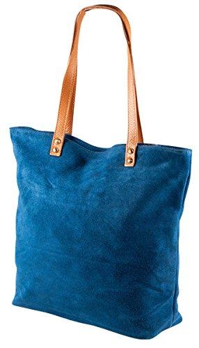 Pelle Italy Schultertasch Handtasche PI10074 Damen Tasche Stern 30x31x12 cm (BxHxT), Farbe:Blau Schwarz