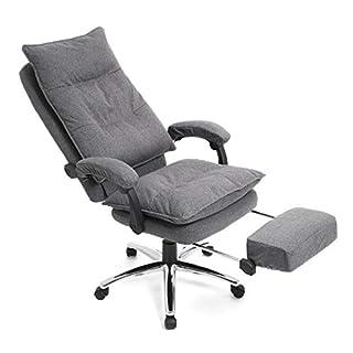SONGMICS Chefsessel, ergonomischer Bürostuhl mit Fußstütze, Schreibtischstuhl, verstellbare Rückenlehne, bis zu 150 kg belastbar, Leinen, grau OBG78GY