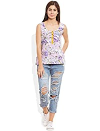 Very Me Women's Designer Purple Pure Cotton Printed Short Top
