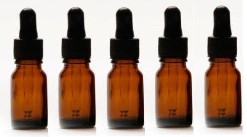Aromatherapie-Flaschen 5-15ml Bernstein Glasflaschen (leer) Mit schwarzer Gummi-Pipette und Kappe