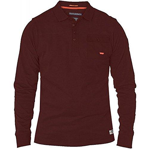 D555 Herren Langarmshirt Rot Rot Burgundy Melange