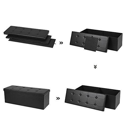 Songmics Sitztruhe 3-Sitzer Kunstleder, schwarz, 110x38x38cm - 8