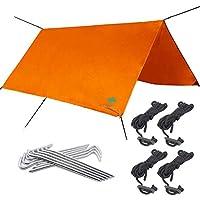 Premium Orange Tarpaulin, 3m x 3m - Strong, Waterproof & Weatherproof Lightweight Ripstop Nylon - with Pegs, Guy Lines & Stuff Sac - Tent Tarp for Camping, Sunshade, Hammock, Groundsheet, Outdoor