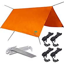 3mx3m, Lona Impermeable de Naranja, Camping Tarp Toldo, Ripstop Nylon - Versátil,