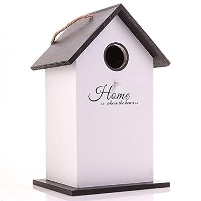 Black & White Wooden Birdhouse Decorative Garden Nesting Box Tree/Wall Hanger by White Hinge