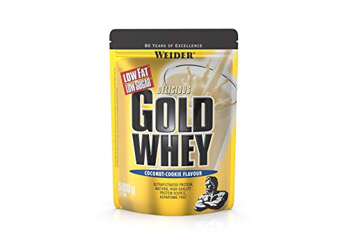 Weider Gold Whey Sabor Coco-Cookies - 500 gr. Concentrado de Proteina de Suero de la más alta calidad. Fácil absorción y digestión. Baja en grasas y azúcares. Con un extra de BCAA.