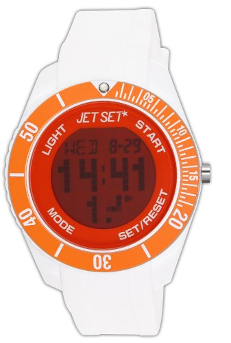 Jet Set Unisex Watch J93491-17 Bubble –  – Quartz Digital – Cadran Orange Rubber Bracelet – White