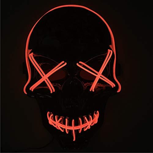 Queta Halloween Masken LED Light EL Maske Beängstigendes Cosplay Maske für Halloween Fasching Karneval Party Halloween Kostüm, - Light Party Kostüm