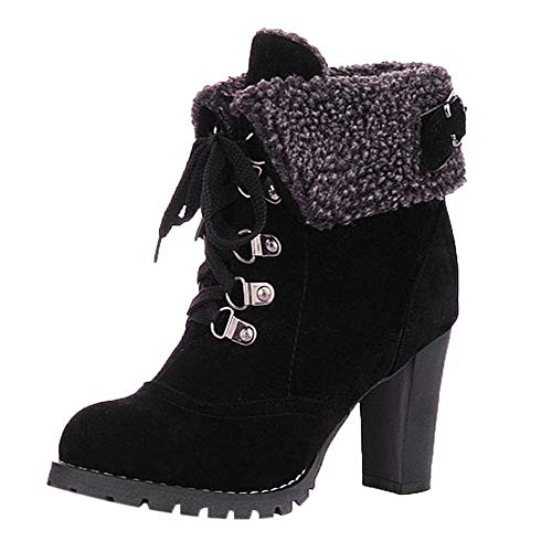 Bringbring Womens High Thick Short Boots Shoe Ankle Boots High-Heel