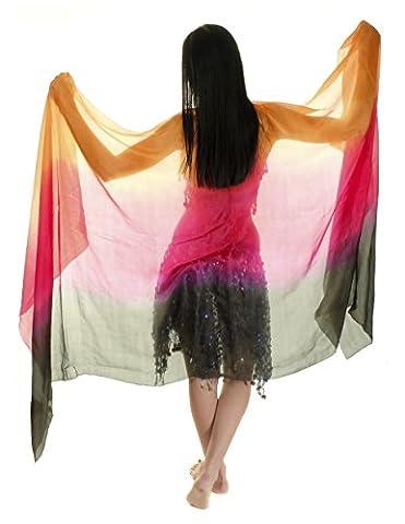 The Turkish Emporium Voile de danse orientale rectangle en 100% soie 250 X110 CM (ORANGE / ROUGE / NOIR)