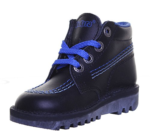Kickers Kick Hi Largit pour bottes en cuir mat Black Blue FV1