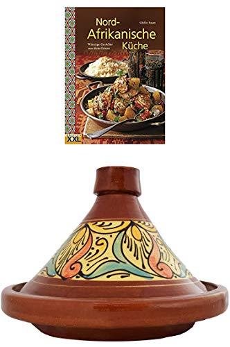 Marokkanische Tajine Topf zum Kochen + Kochbuch   Schmortopf glasiert Chaouen Ø 35cm 6-8 Personen   inklusive Rezepte Buch Nord Afrikanische Küche   ORIGINAL Tontopf handgetöpfert aus Marokko - Kochen Topf
