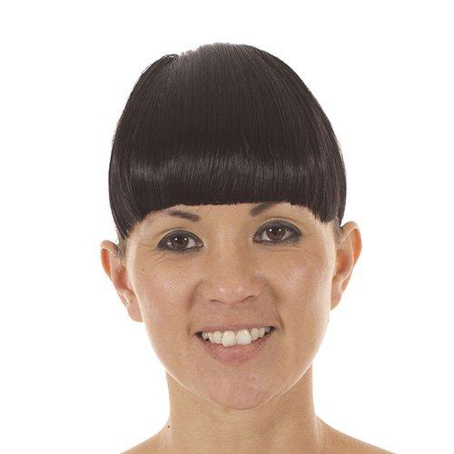 Frange raide à Clips Couleur Noire | Mèches de Côté Plus Longues Effet Cheveux | Frange à Clips Coupée au Carré Couleur Noire