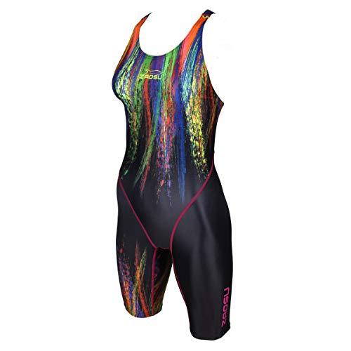 ZAOSU Damen & Mädchen Wettkampf Schwimmanzug Z-Painted Love | Sport Badeanzug mit Bein | swimskin, Größe:140