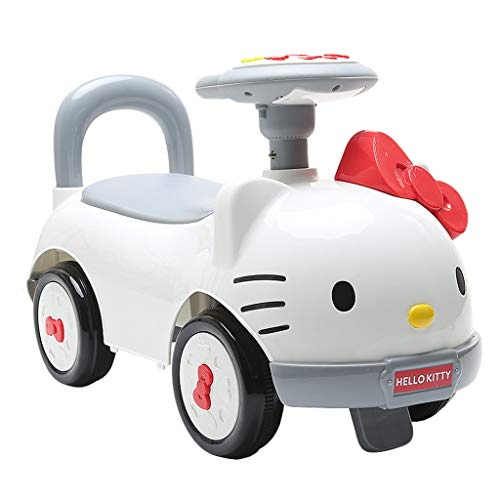 Veicoli a spinta e ruote Hello Kitty Child Twisting Car 1-3-5 Year Old Baby Scooter NIU NIU Yo-Yo Sliding Music Car Bianco Crossover Balance Storage Toy Car (Color : Bianca, Size : 68 * 28 * 37cm)