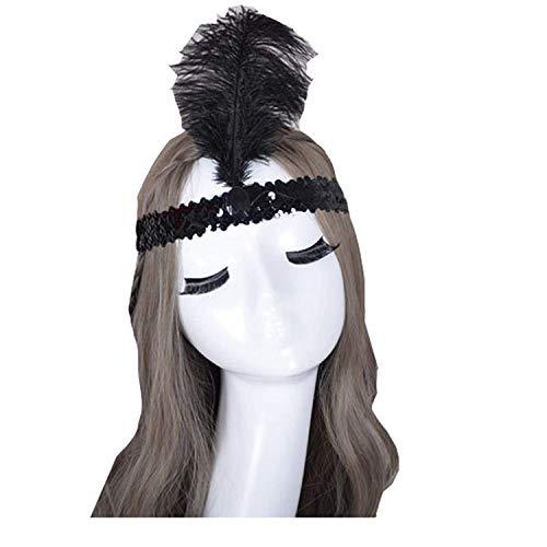 Lannister Damen Feder Stirnband 1920S Flapper Great Accessoires Haarband Blatt Stil Festlich Bekleidung Inspiriert Von Der Große Gatsby Kostüm Accessoires (Color : B, Size : One Size)