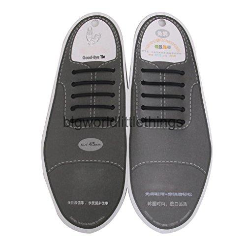 Schwarz oder Braun Elastische Silikon keine Krawatte mit Schnürsenkel PK der 10PCS für Erwachsene & Kinder Schuhe, schwarz - schwarz - Größe: Kinder 30 (Schuhe Pimp Erwachsene)