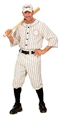 chsenenkostüm Baseball Spieler, Shirt, Hose mit Gürtel und Kappe, weiß, Größe L (Halloween-kostüm Baseball)
