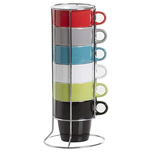 JJA So Fresh So City Cappuccino Cup Set - Multi-Coloured - with Rack by JJA So Fresh So City