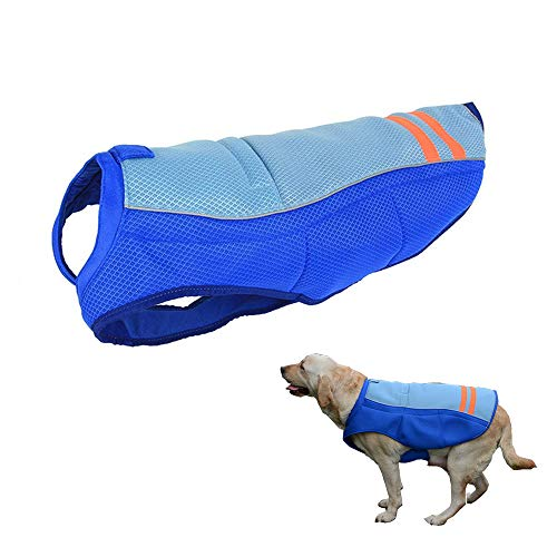 2d843d126691 HomeYoo Dog Cooling Vest, Breathable Cooling Coat Outdoor Anti-heat Summer  Jacket Clothes for Medium and Large Pet Dogs (XL, Blue)