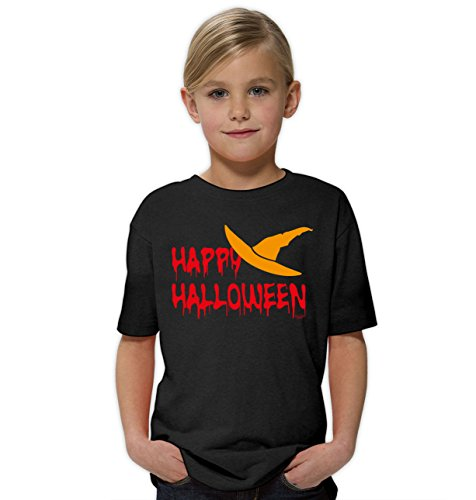 iges Kostüm Sprüche-Fun-T-Shirt - Outfit Verkleidung für Kinder Mädchen Teenager Super Geschenk-Idee Farbe: schwarz Gr: 134/146 (Happy Halloween-gruseliges Gesicht)