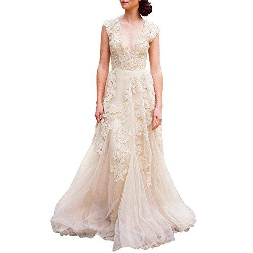 CoCogirls Braut Damen Jahrgang Überwurfhülse Spitze Hochzeitskleid Eine Linie Abendkleid Party...