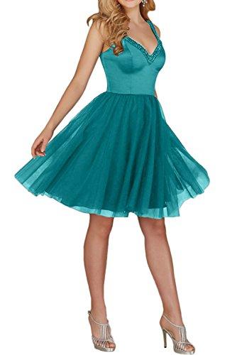 Promgirl House Damen Romantisch Träger Satin Tüll A-Linie Mini Partykleider Abendkleider Cocktail Ballkleider Kurz Blaugrün