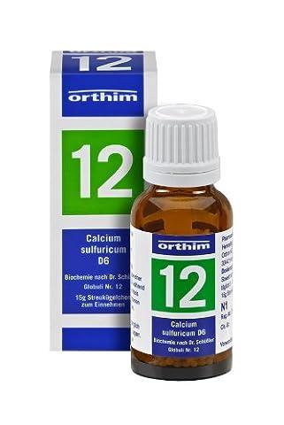 Schuessler Globuli Nr. 12 - Calcium sulfuricum D6 - 15g Globuli - gluten- und laktosefrei (Gluten Laktosefrei)