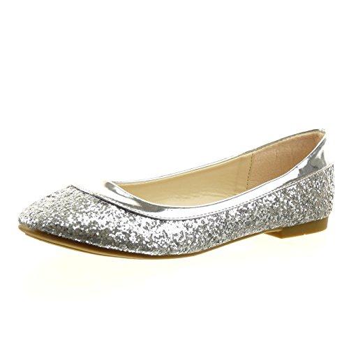 Sopily - damen Mode Schuhe Ballerina glitzer Patent - Silber
