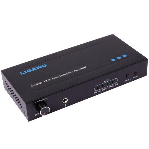 Ligawo 6518730 Audio Embedder mit Mikrofon Unterstützung und Lautstärkeregelung (1080p, HDMI, 3D) inkl. USB Stromkabel (2m) schwarz