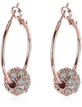 Damen Creolen Ohrringe mit Kristall Vergoldet Große Rund Ohrringe Mode Schmuck