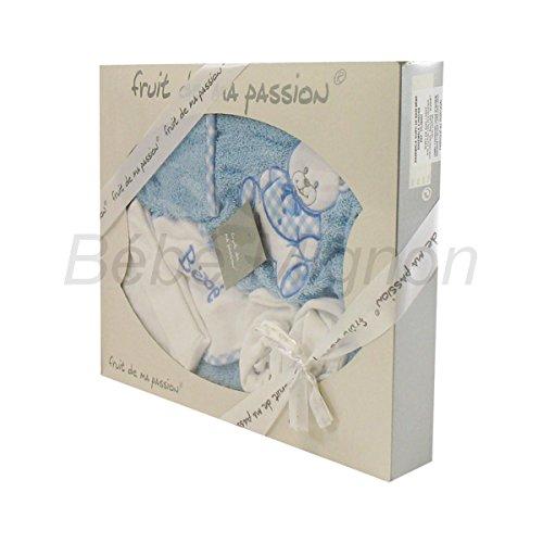 Geschenkset Geburt Badeset blau und weiß–Teddy)