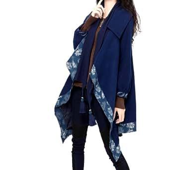 Artka Women's Wide Lapel Tassel Patchwork Knit Woolen Coat Blue One Size