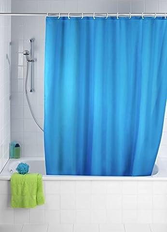 WENKO 20041100 Anti-Schimmel Duschvorhang Uni Marine - Anti-Bakteriell, waschbar, mit 12 Duschvorhangringen, 100 % Polyester,