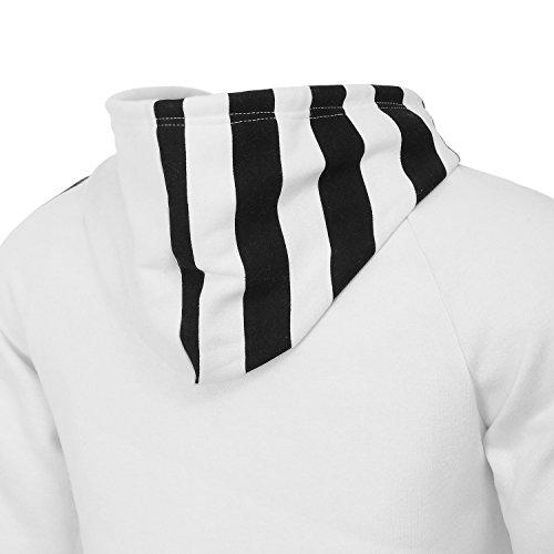 AIRAVATA Herren Vlies Schwergewichts-Zip-up Langarm Streifen Kapuzenpullover US Größen Weiß