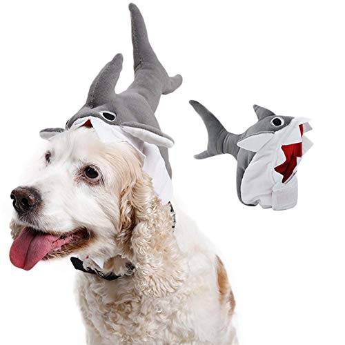 HongBao Haustier-Haifisch-Hut Super Nette Nette Perücke, Haustier-Halloween-Hut-Haifisch-Entwurfs-Haustier-Rollenspiel, Kappe der Transvestierungs-3D lustige Haustier-Kopfbedeckung,M