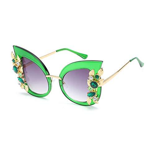 XJWDTYJ Strass Sonnenbrille Frauen Halbmetall Katzenauge Sonnenbrille Luxus Zubehör Sommer Beach Party Uv400