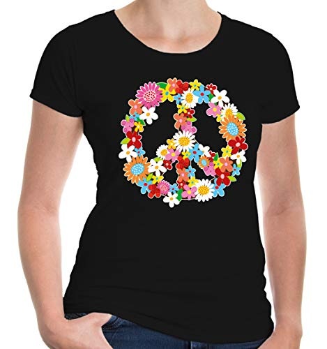 buXsbaum Damen Girlie T-Shirt Peace Flower Symbol | Frieden | S, ()
