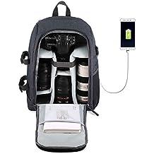 """Mochila para Cámaras Réflex y Accesorios con Puerto USB Cargador y Ordenador Portátil 14"""" Mochila Protección Anti-lluvia Impermeable para Nikon Canon Sony (Gris)"""