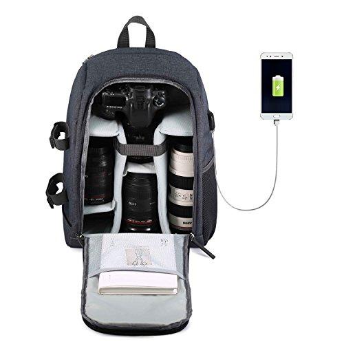 Beaspire Kamera Rucksack Wasserdicht Nylon DSLR Rucksack Profi Kameratasche mit Code-Schloss für Canon Nikon Sony Kamera Zubehör und Laptop Tablets Grau Speicherkarte Canon T5i