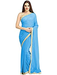 Floral Trendz Women's Chiffon Saree With Blouse Piece (China Skyblue)