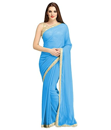 Fantasy Trendz chiffon saree for women with Moti border and blouse Jari Silk