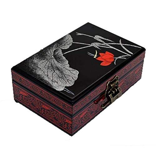 Isogea Holz Schmuckschatulle, Retro Lock Doppelschicht Lagerung Vanity Box, Uhrenbox Hochzeitsgeschenk (Farbe : -, Größe : -) -