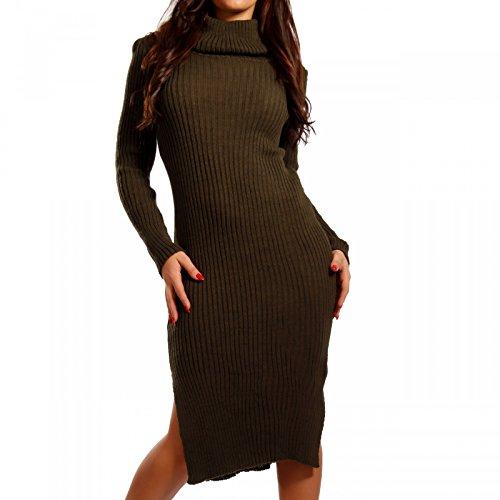 Damen Strickkleid mit Rollkragen Pencil Dress, Farbe:Khaki;Größe:One Size