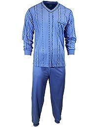 Herren Schlafanzug Pyjama Zweiteiler lang 2-tlg mit V-Ausschnitt Nr. 4672