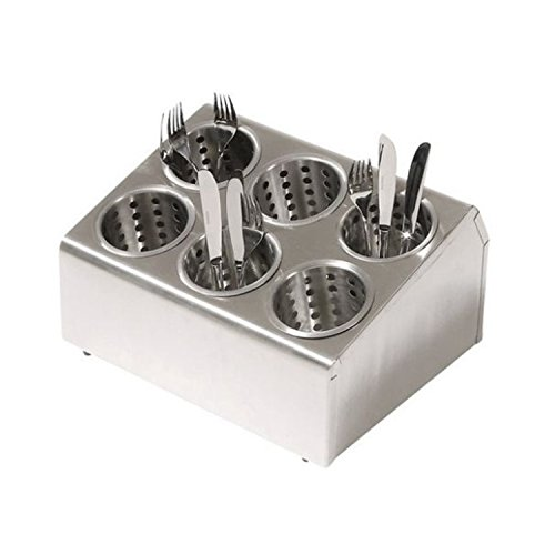 Chef-Hub Stainless Steel 6 Slot Cutlery Dispenser With Perforated Holders