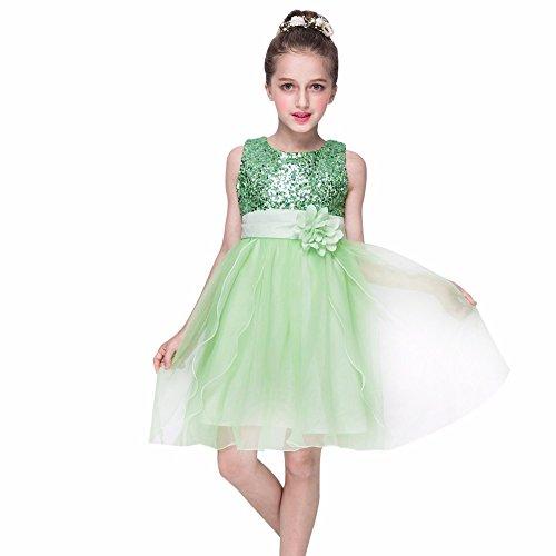 Kleider Kinderbekleidung Honestyi Kleinkind Baby Mädchen Bling Pailletten Sleeveless Tutu Prinzessin Kleid Outfits Kleidung (Grün,150)