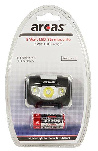 Arcas 30710010 LED Kopflampe, 5W, inkl. Batterien