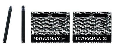 Waterman S0110850 - 2 Etuis mit 8 Großraum-Tintenpatronen schwarz, Tinte löschbar (2er Pack...